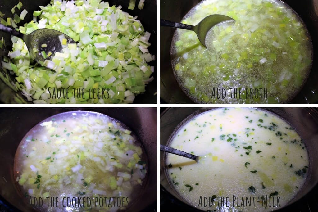 A college of 4 pictures showing the process steps of making gluten free vegan potato leek soup.