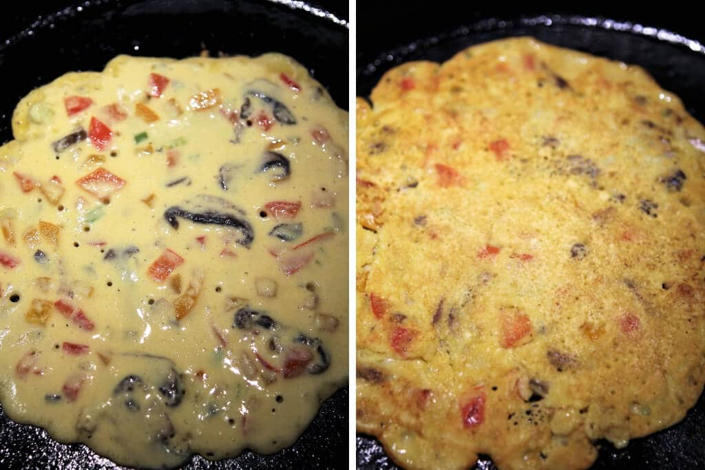 Two pictures showing the chickpea omelette being cooked in a skillet showing it uncooked and cooked.