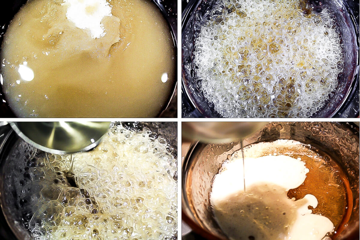 A series of 4 pictures showing the steps of boiling sugar and adding coconut oil and soy milk to make vegan caramel for vegan caramel apples.