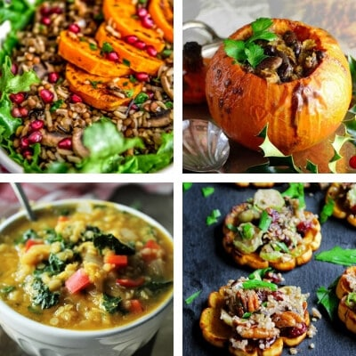 A series for 4 pictures showing samples of gluten free vegan Thanksgiving recipes.