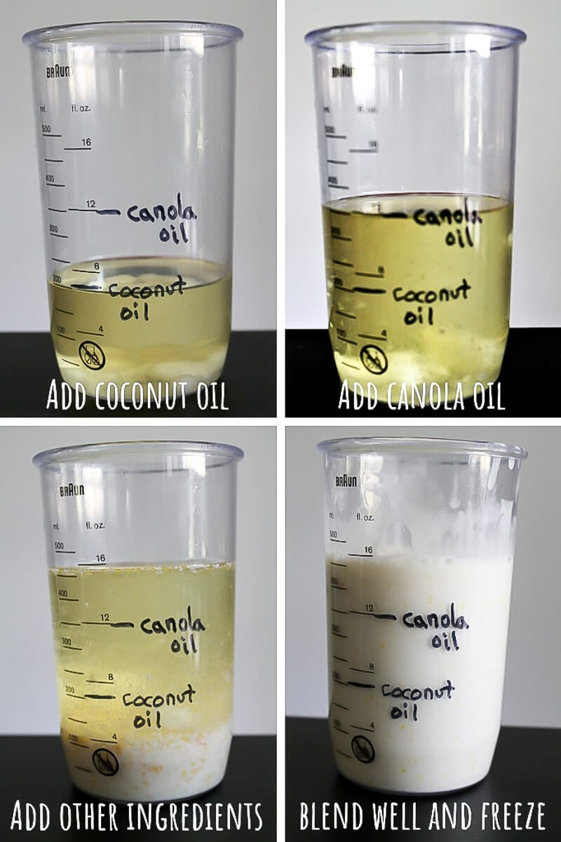 A series of 4 pictures showing the process steps for making your own homemade vegan butter with canola oil, coconut oil, and soy milk in an immersion blender.