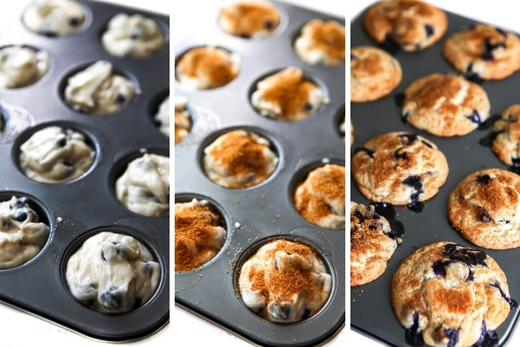 A series of 3 pictures showing the process steps of filling the muffin tins, sprinkling on cinnamon and sugar, then baking the blueberry muffins to perfection.