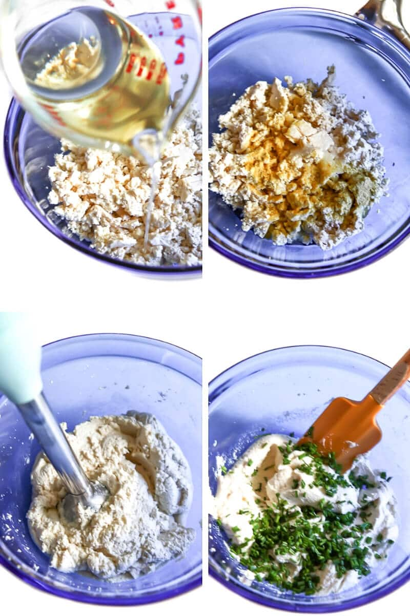 A collage of 4 pictures showing the process steps from making vegan cream cheese from tofu, oil, and spices.