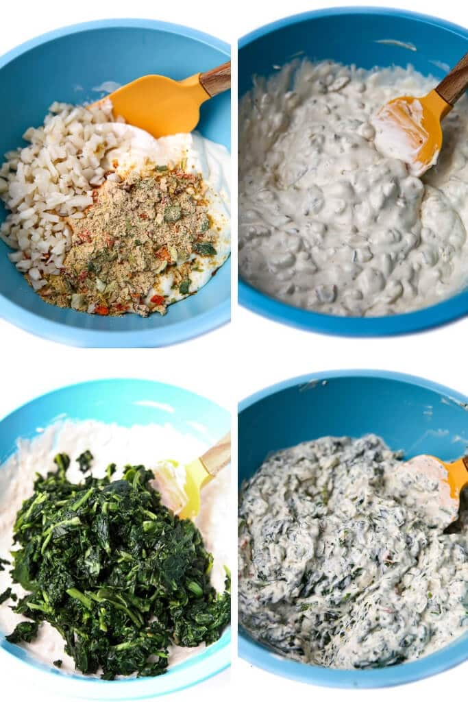 Four pictures showing the process steps for making vegan spinach dip.