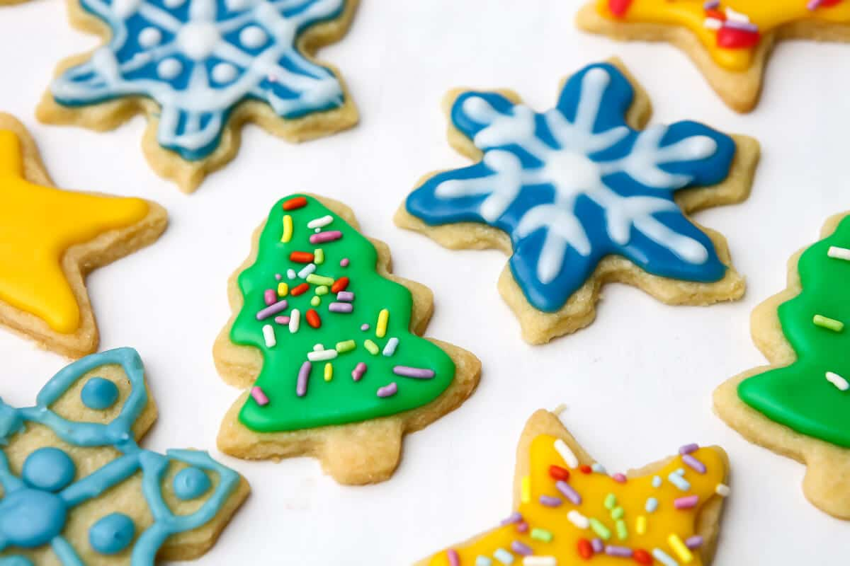 Christmas cookies decorated with vegan royal icing.