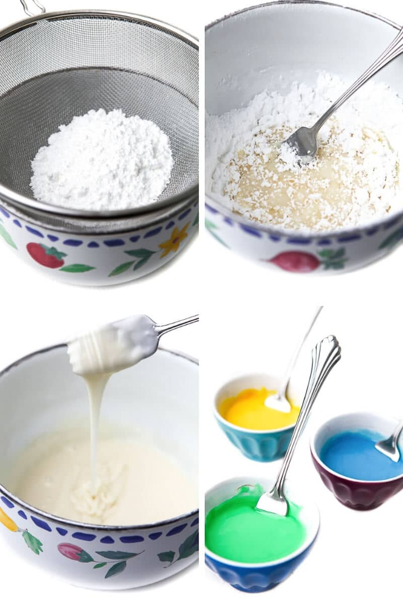 A series of 4 pictures showing the process steps of making vegan royal icing.