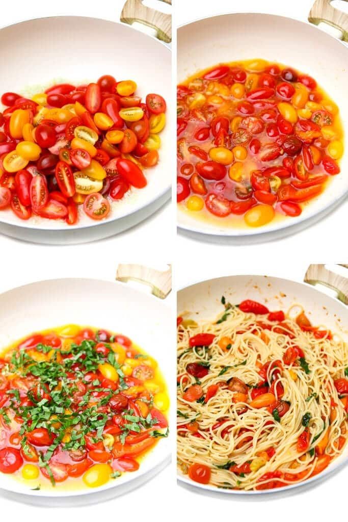 A collage of four pictures showing the process steps to make simple vegan tomato pasta sauce with cherry tomatoes, olive oil, garlic, and basil.