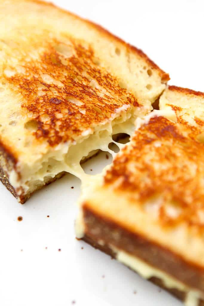 A vegan grilled cheese sandwich made with melty dairy-free mozzarella.