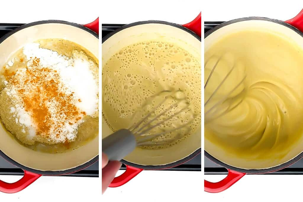 A collage of 3 pictures showing the process steps of making vegan nacho cheese sauce without nuts.