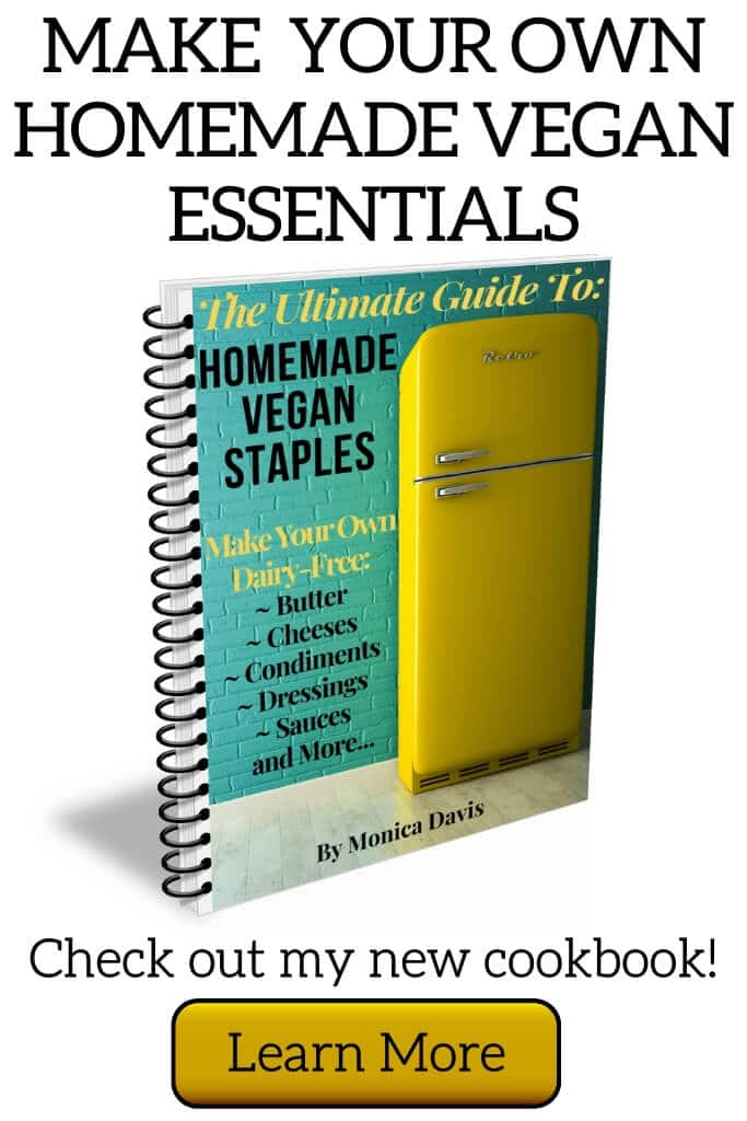 A picture of a vegan cookbook for vegan staples like vegan cheese, butter, and milk. Asking if you want more information.