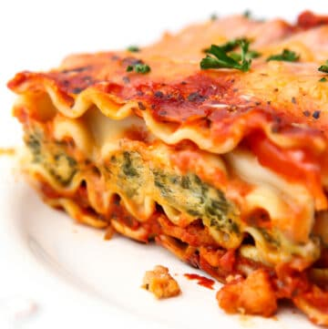 A close up of a piece of vegan lasagna.