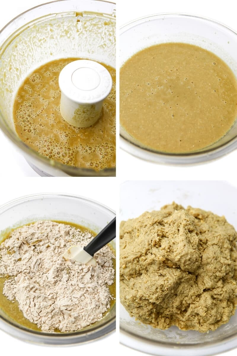 A collage of 4 pictures showing the process steps for blending chickpeas and broth, adding wheat gluten, and kneading it to make seitan chicken.