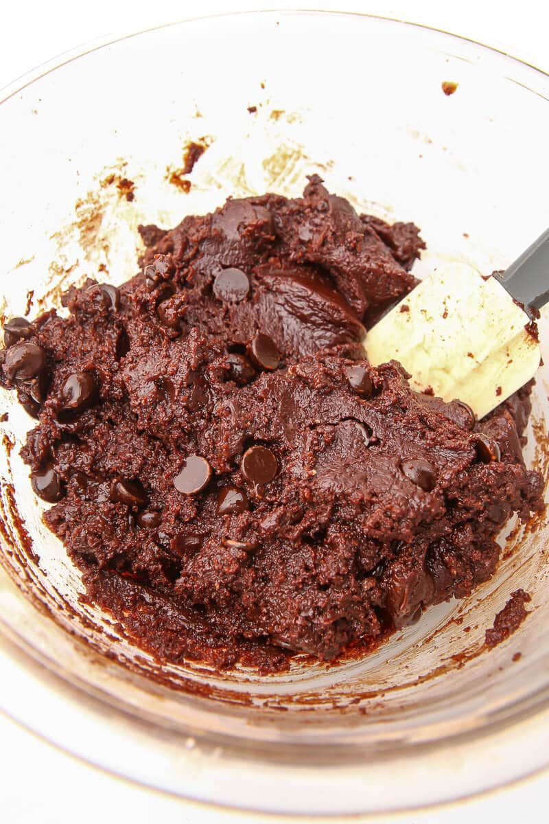 Thick and firm brownie batter mixed together.